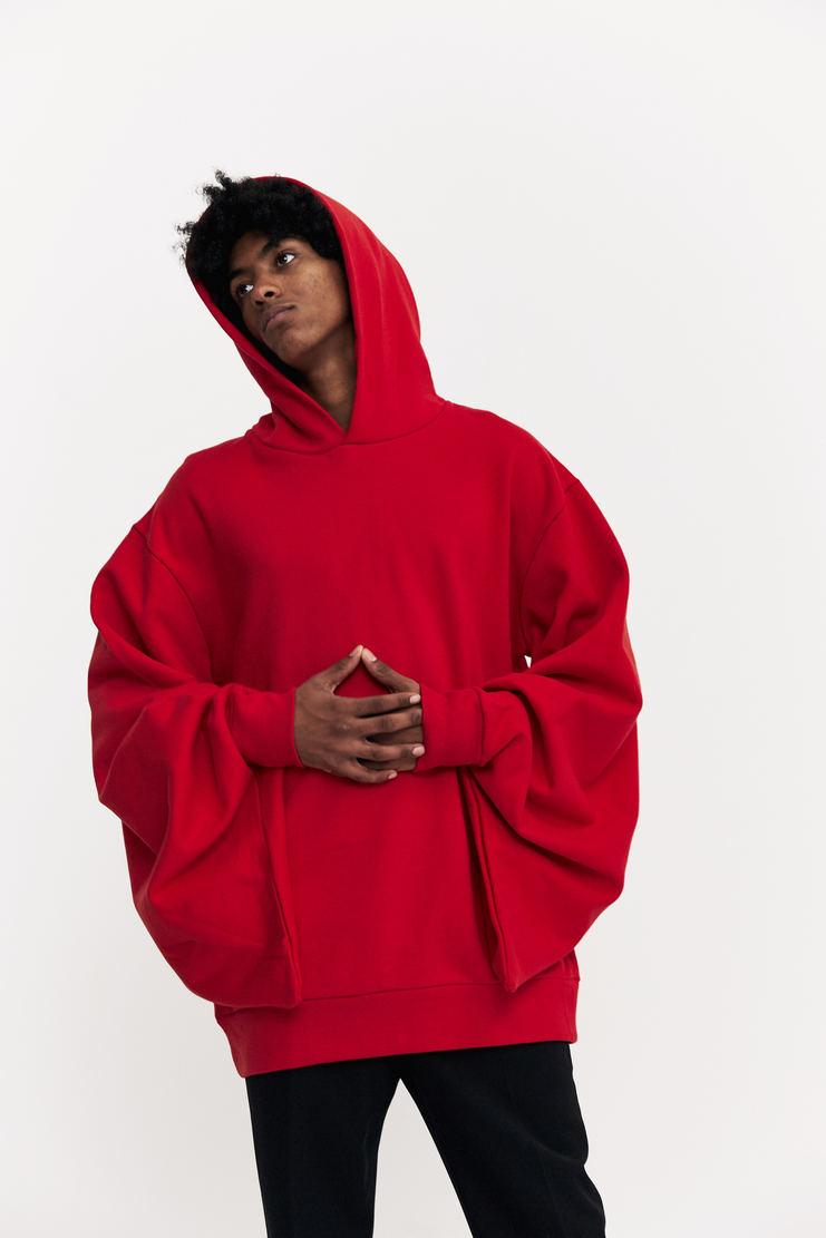 Xander Zhou Red Kimono Sleeve Hoodie a/w 17 aw17 hooded sweater sweatshirt japanese kimono xandar zou