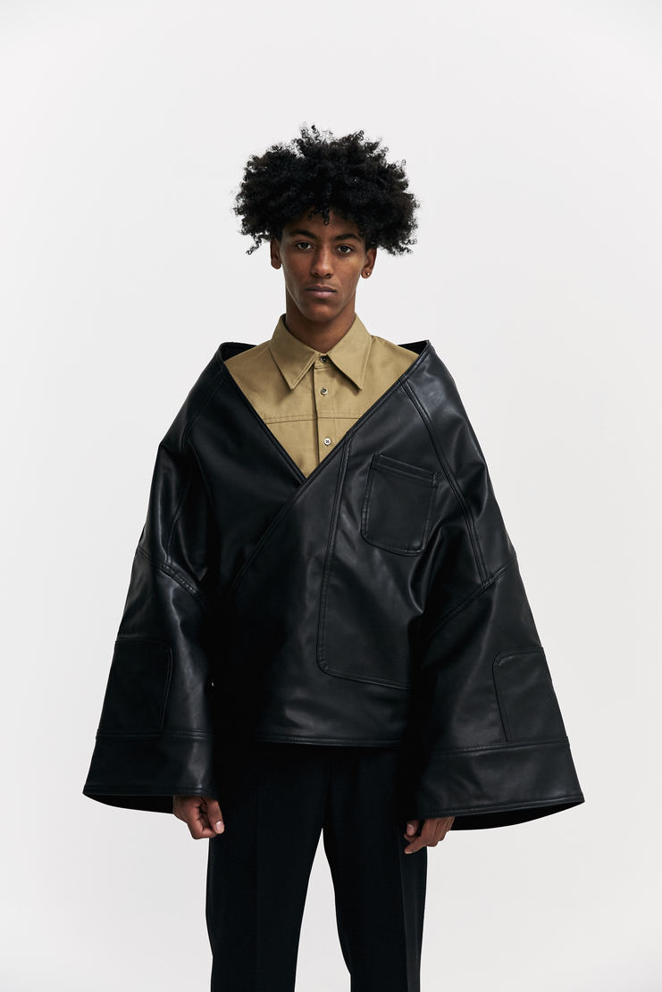Xander Zhou Oversized Kimono Cape jacket coat black a/w 17 aw17 japanese