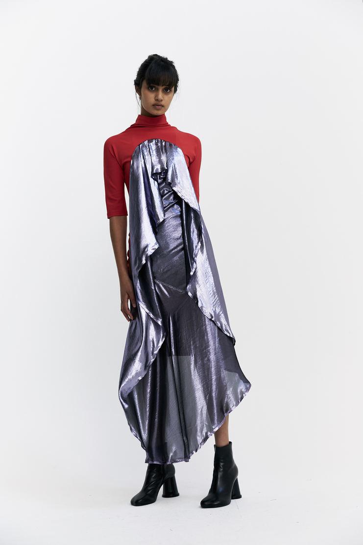 Paula Knorr Red Drape Dress slim fit draped double layered purple metallic silhouette paula knor a/w 17 aw17