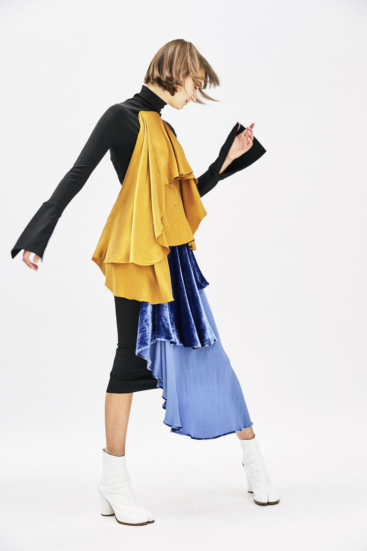 Multicoloured Drape Dress slim fit draped double layered mustard blue black long sleeve silhouette paula knor a/w 17 aw17