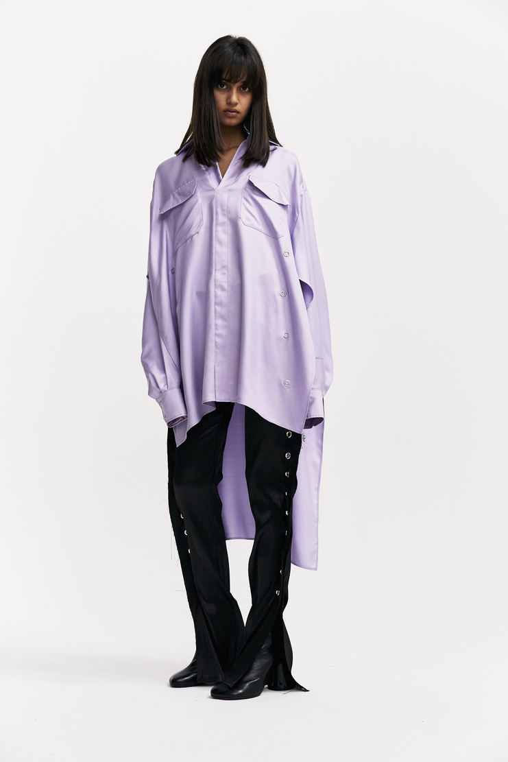 Paula Knorr Long Lilac Shirt hi-low hemline long sleeved popper fastening paula knor a/w 17 aw17
