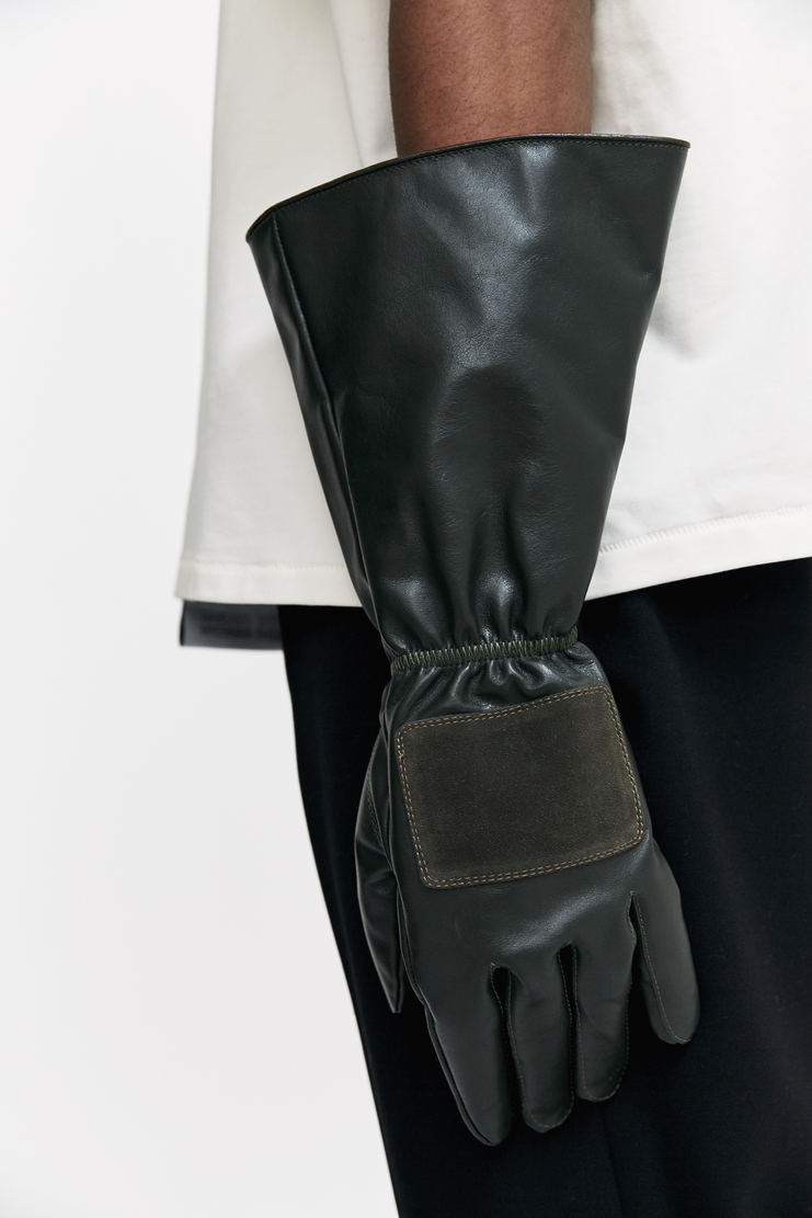 Xander Zhou Short Gloves AW17 A/W 17 Xandar Zou Accessories Cowhide Green