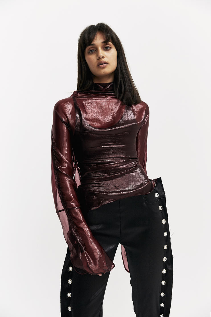 Paula Knorr Wine Relief Top short sleeve layered black red paula knor a/w17 aw17