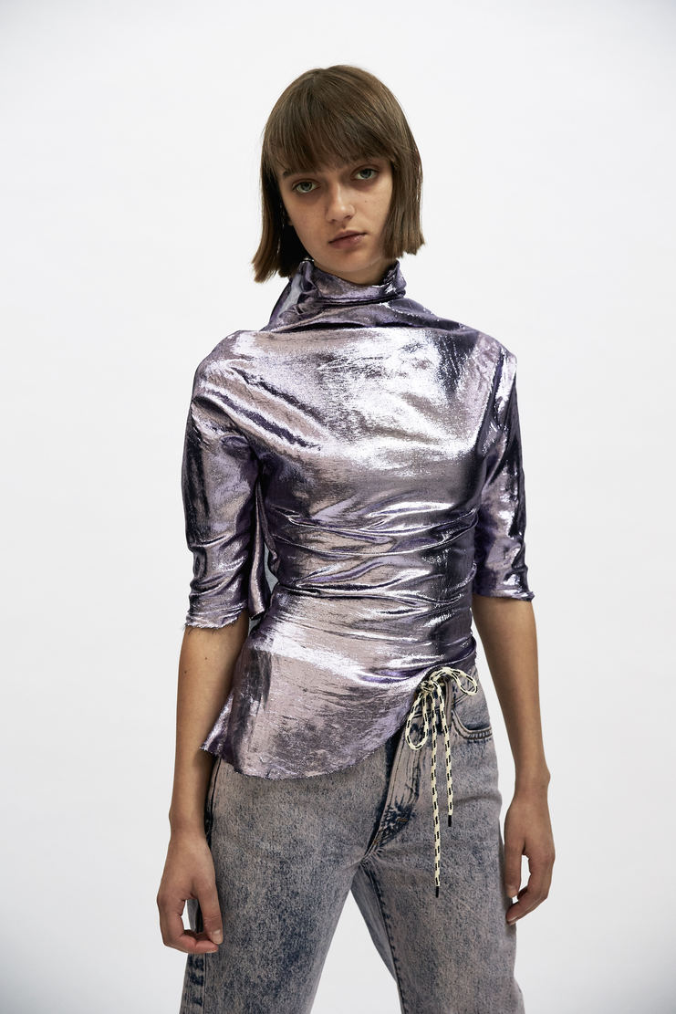 Paula Knorr Purple Relief Top short sleeve layered black purple metallic paula knor a/w17 aw17