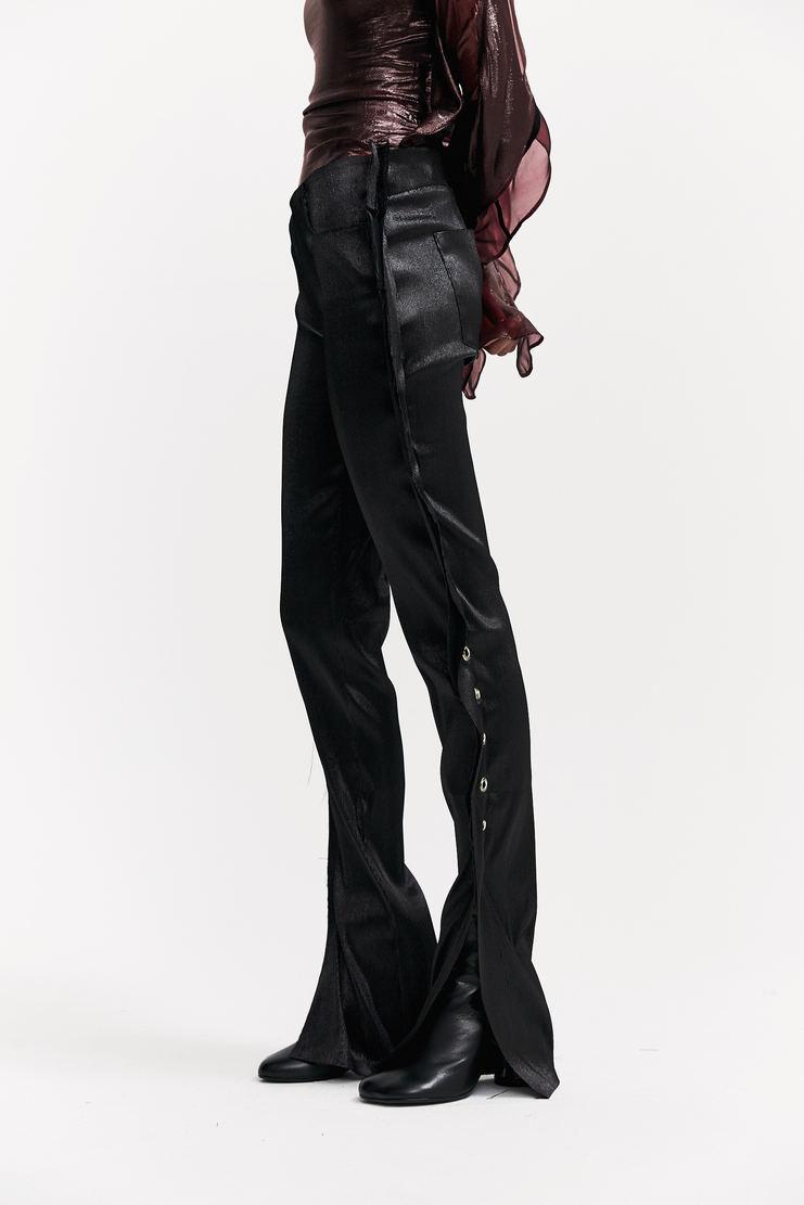 Paula Knorr Black Eyelet Jeans eyelet detail silver-tone metal slit hem paula knor a/w17 aw17