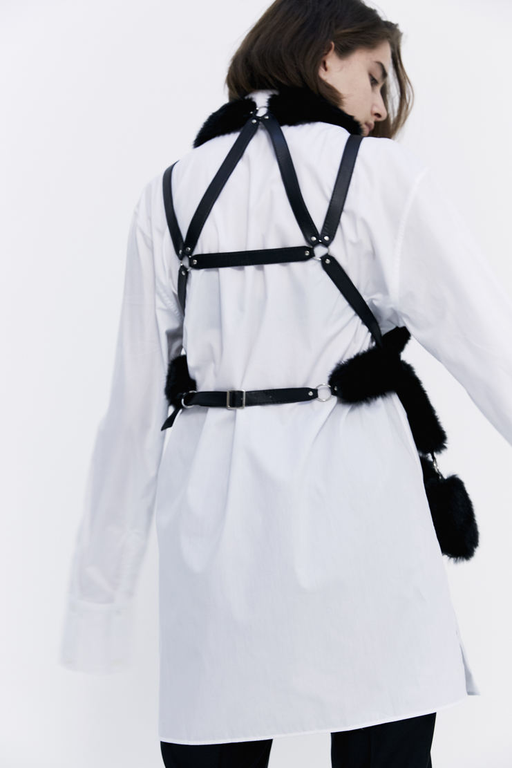 Noir Kei Ninoamiya Black Vest Top sleeveless harness leather fur patched t-shirt a/w 17 aw17 Kei Nioyamia ninoamia