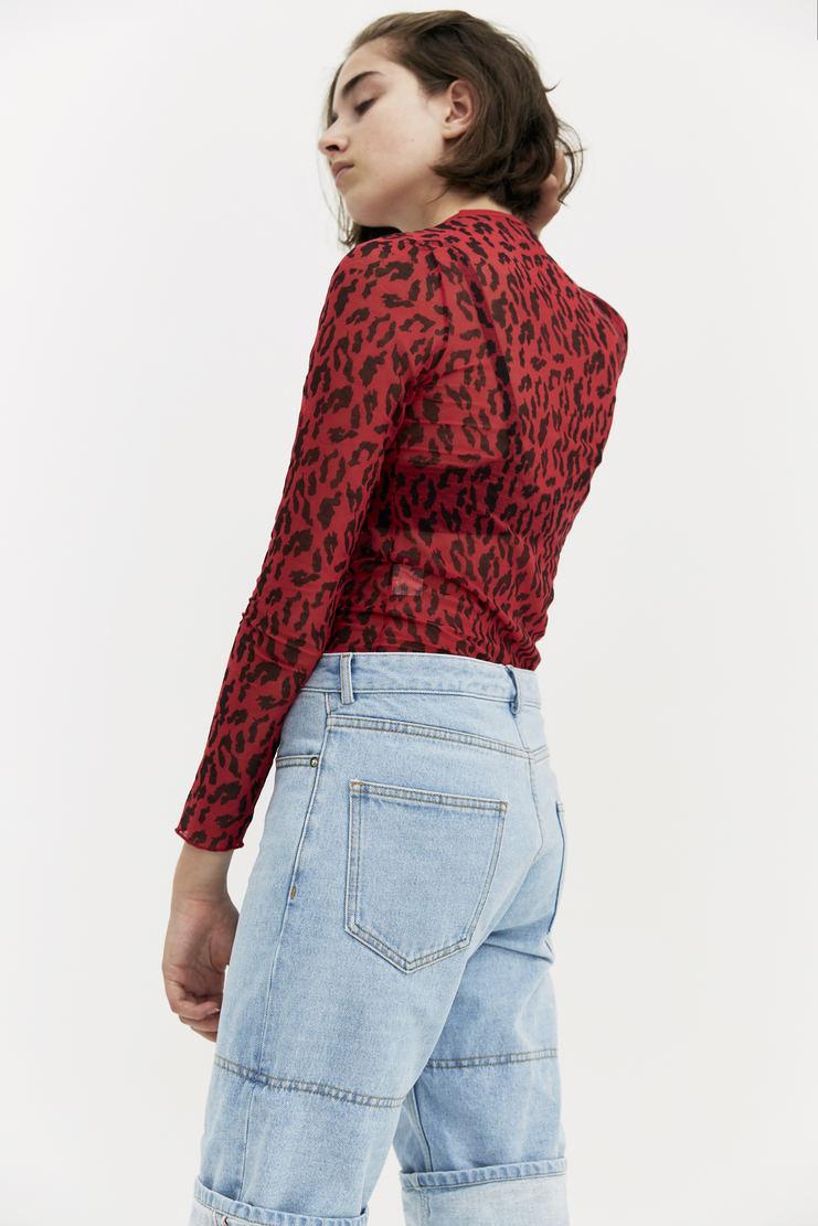 ARIES Cheetah Print Top AW17 A/W 17 Arise T-Shirt Red Black