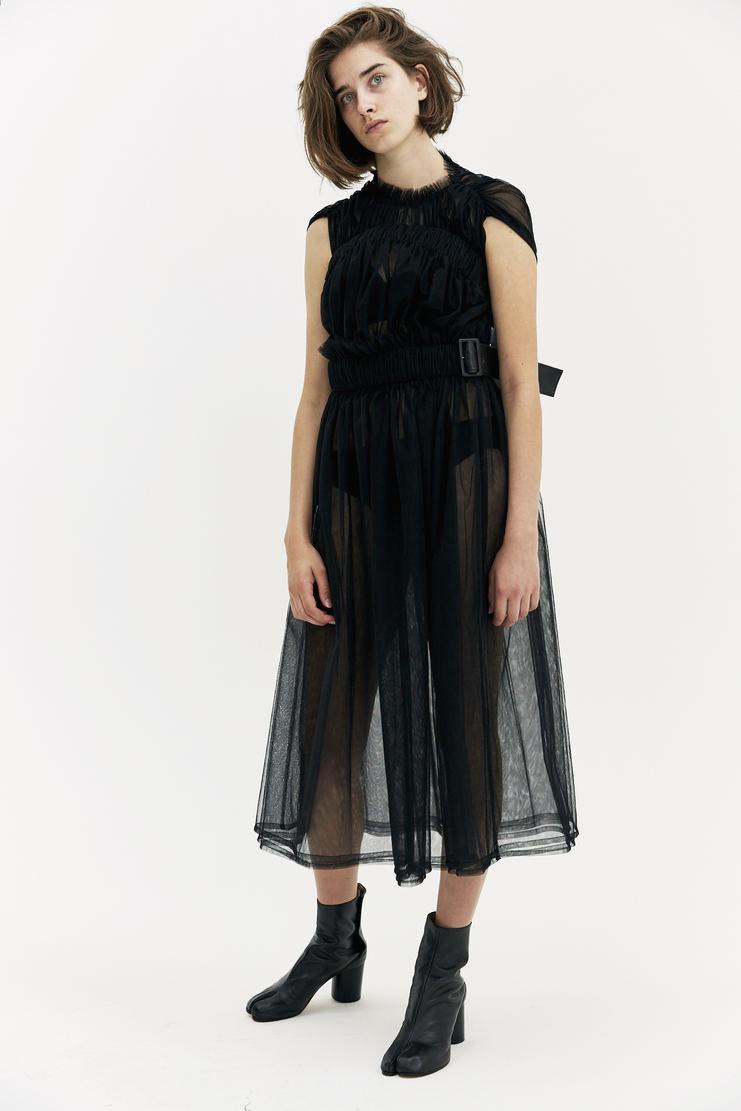 Noir Kei Ninoamiya Sheer Belted Dress black transparent leather ruche long a/w 17 aw17 Kie Nioyamia ninoamia