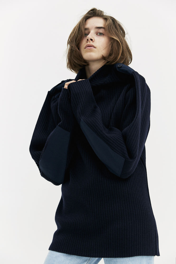 Y/Project Navy Jumper long sleeve woollen patch extended shoulder a/w 17 aw17 y project