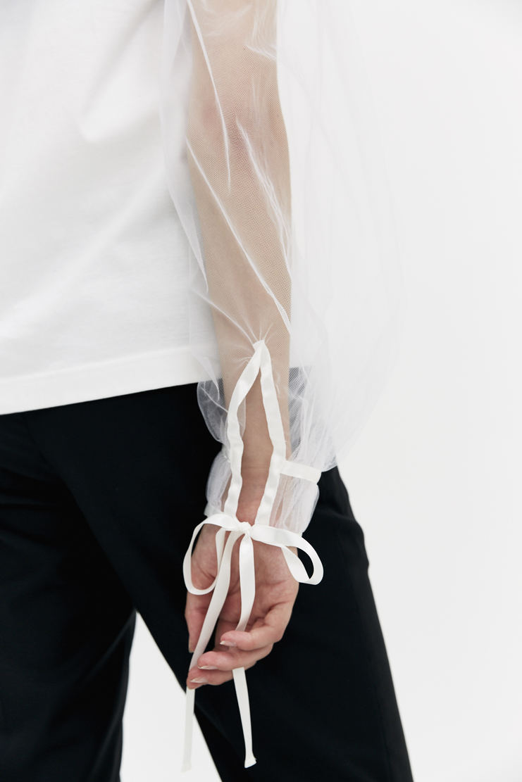 Noir Kei Ninoamiya Long Sleeve White T-shirt sheer top a/w 17 aw17 Kie Nioyamia ninoamia
