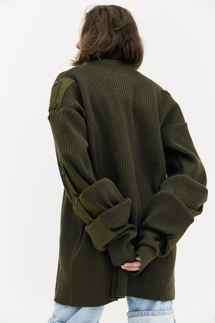 Y/Project Khaki Detachable Sleeve Jumper patch knitted removable sleeves y project a/w 17 aw17