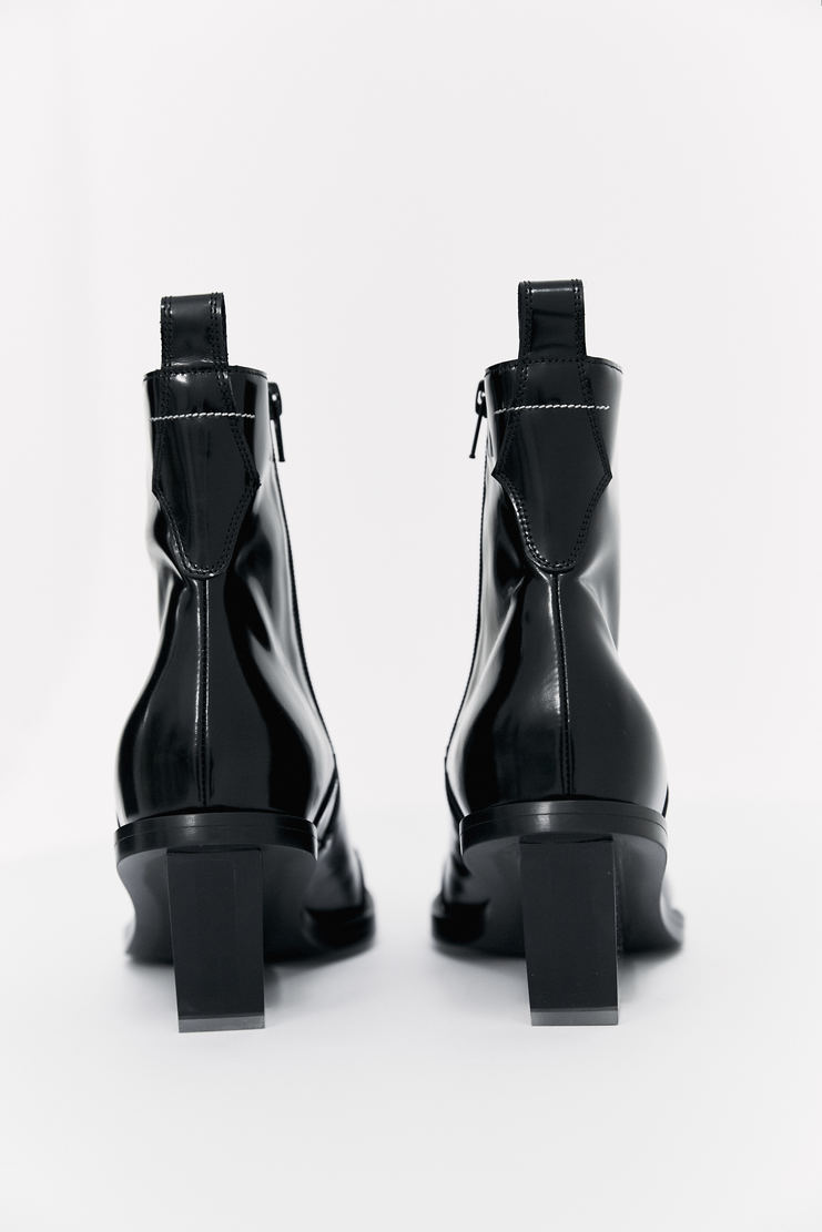 MM6 Cowboy Ankle Boots pointed toe transparent heel shiny patent leather a/w 16 m m 6 martin margiela