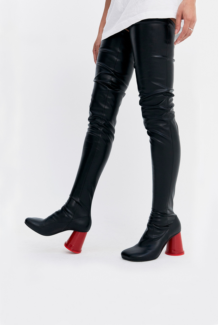 MM6 Thigh High Cup Heel Boots long leather plastic cup heel toe martin margiela a/w 17 aw17
