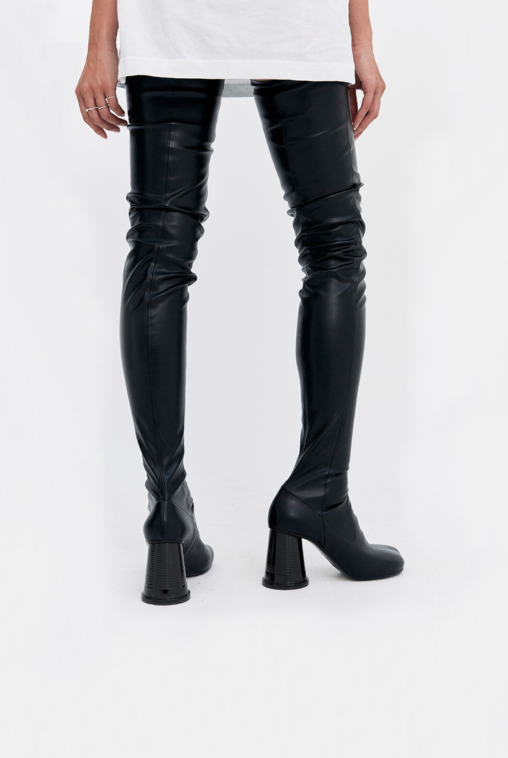 MM6 Thigh High Black Cup Heel Boots long leather plastic cup heel toe martin margiela a/w 17 aw17