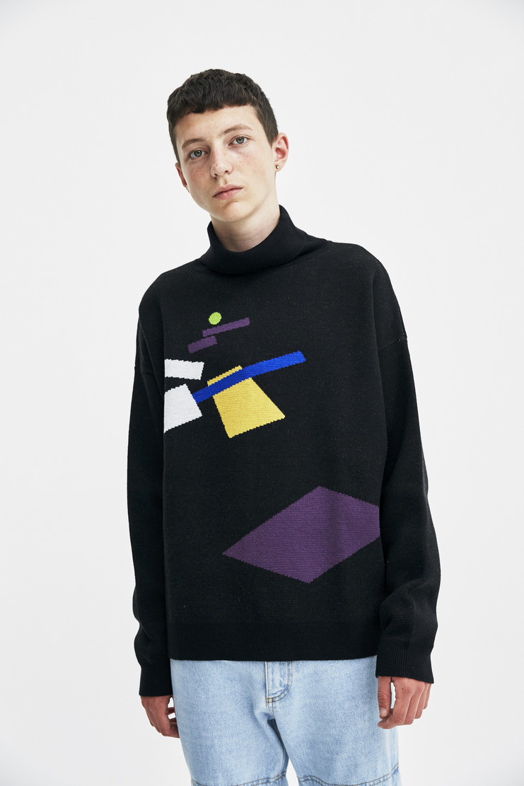 Gosha Rubchinskiy Black Turtleneck Sweater long sleeve geometric pattern a/w 17 aw17 gosha rubchinskiy