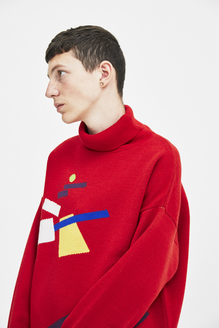 Gosha Rubchinskiy Black Turtleneck Sweater long sleeve germetric pattern a/w 17 aw17 gosha rubchinskiy