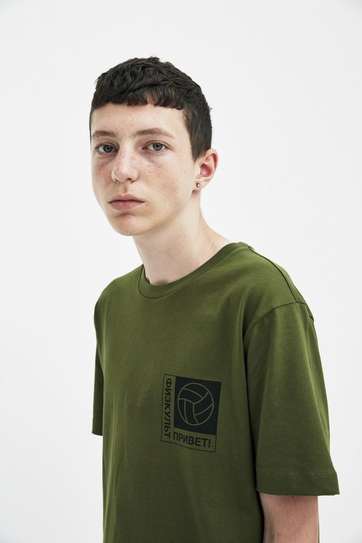 Gosha Rubchinskiy Khaki Football Motif T-shirt short sleeve cyrillic gosha rubinsky a/w 17 aw17