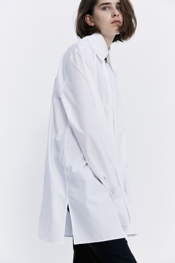 DELADA White Double Panel Shirt oversized long sleeve panels button up a/w 17 aw17 dilada