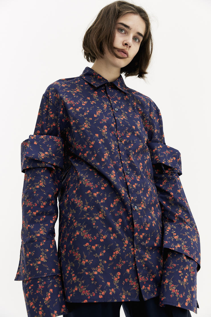 DELADA Floral Shirt With Removable Sleeves floral flowery oversized button up dilada a/w 17 aw17