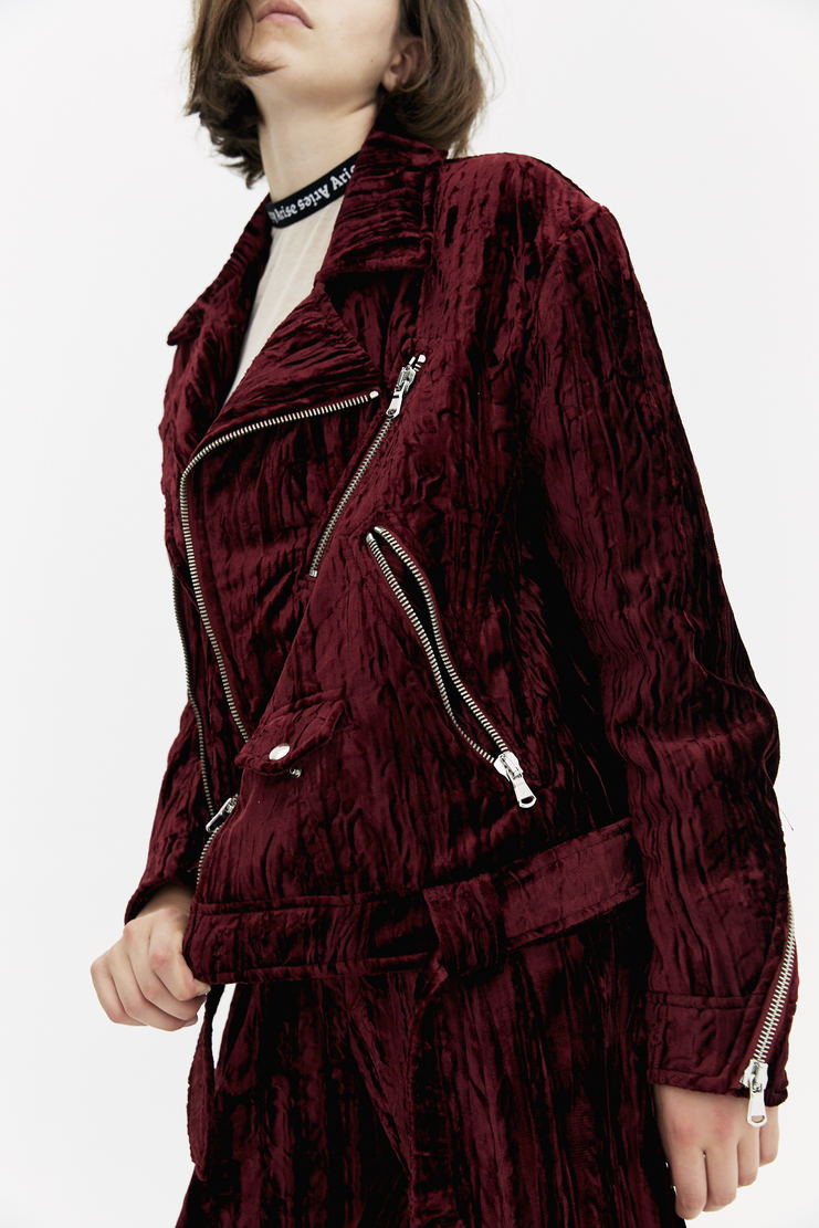 DELADA Crushed Velvet Biker Jacket long sleeve burgundy belt hardware zips a/w 17 aw17 dilada