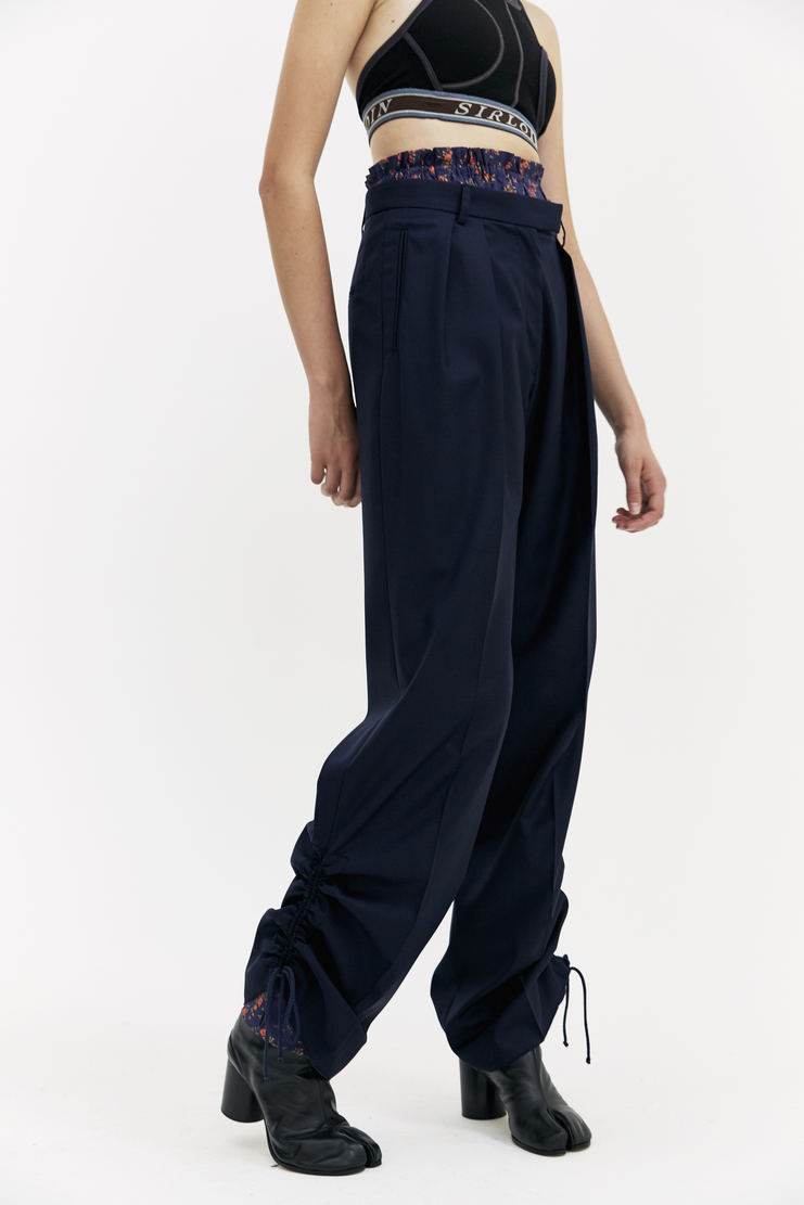DELADA Navy Floral Lining Trousers elasticated drawstring flowery pattern lined a/w 17 aw17 dilada