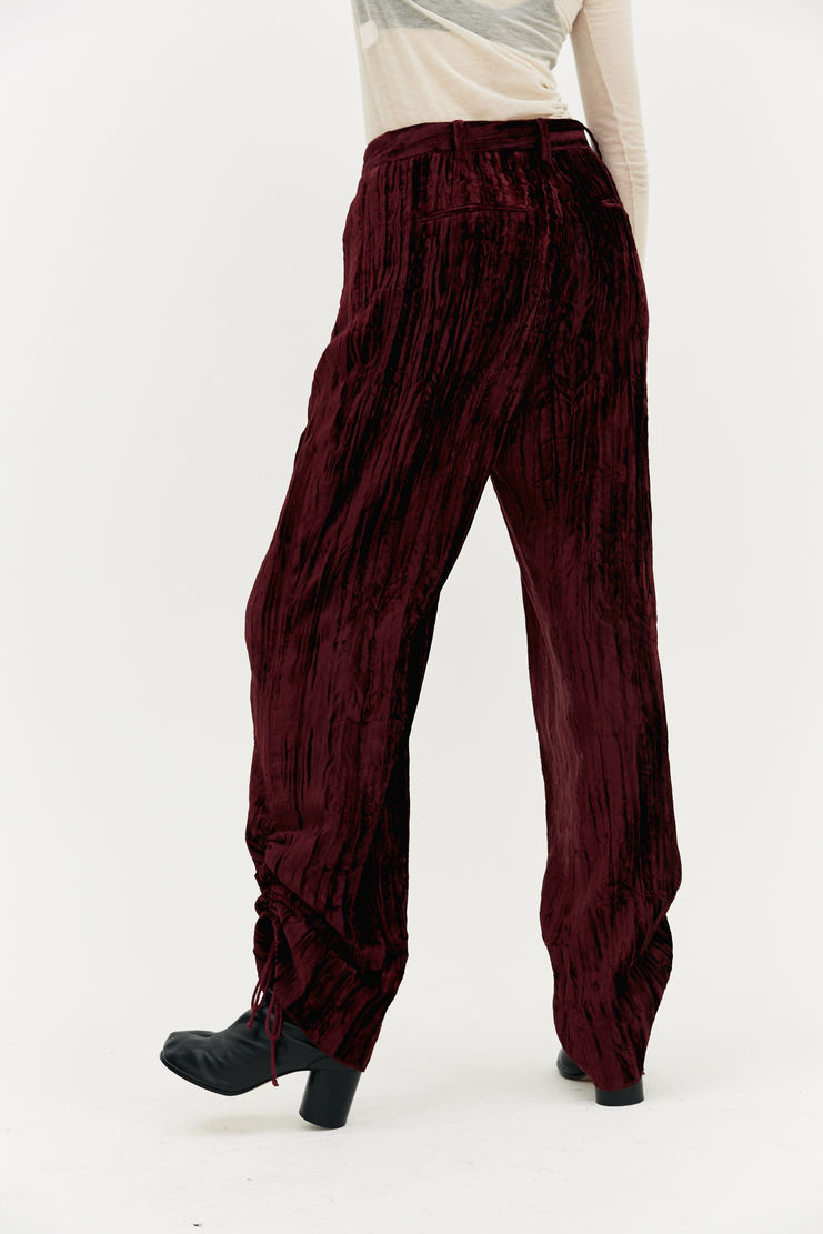 DELADA Relaxed Burgundy Trousers drawstring cuff crushed velvet wine red a/w 17 aw17 dilada