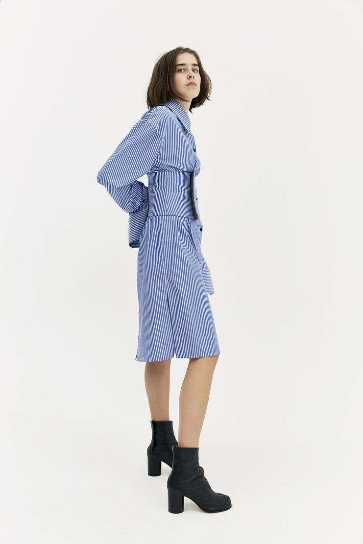 DELADA Blue Striped Corset Dress long sleeve double cuff collar buttons knee length a/w 17 aw17 dilada