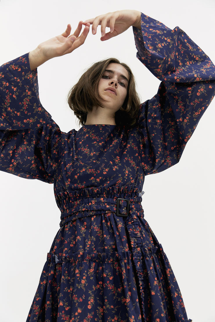 DELADA Oversized Floral Ruffle Dress flowery navy blue red flowers sleeves belted a/w 17 aw17 dilada