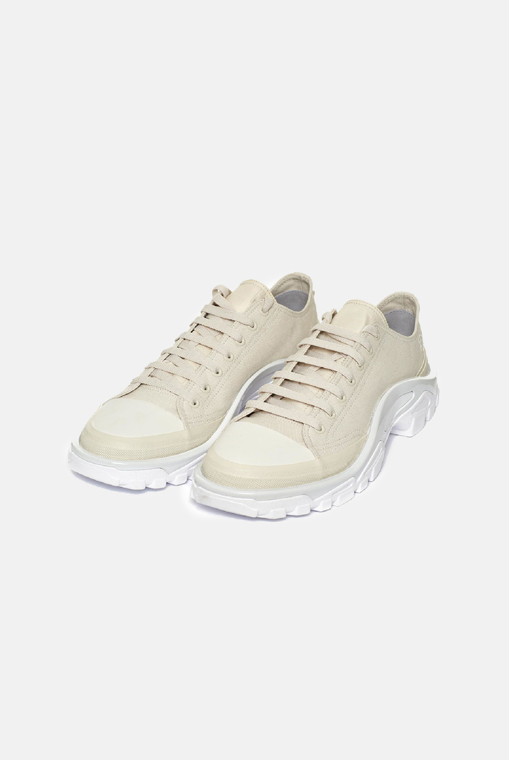 Adidas x Raf Simons New Runner Sneakers cream talc canvas shoes trainers low tops aw17 streetwear menswear collaboration limited