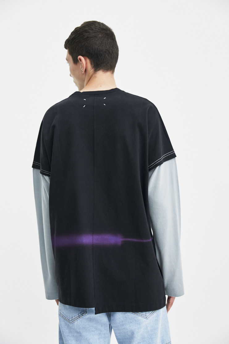 Maison Margiela Long Sleeve T-shirt top black grey sleeves purple graphic a/w 17 aw17 martin margeila