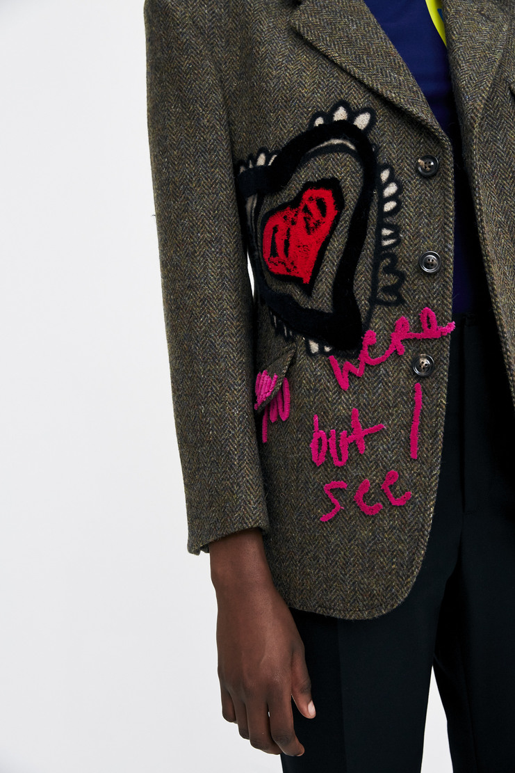 Maison Margiela Herringbone Felt Jacket heart star checked suit coat button face felt embroidered a/w 17 aw17 martin margiela
