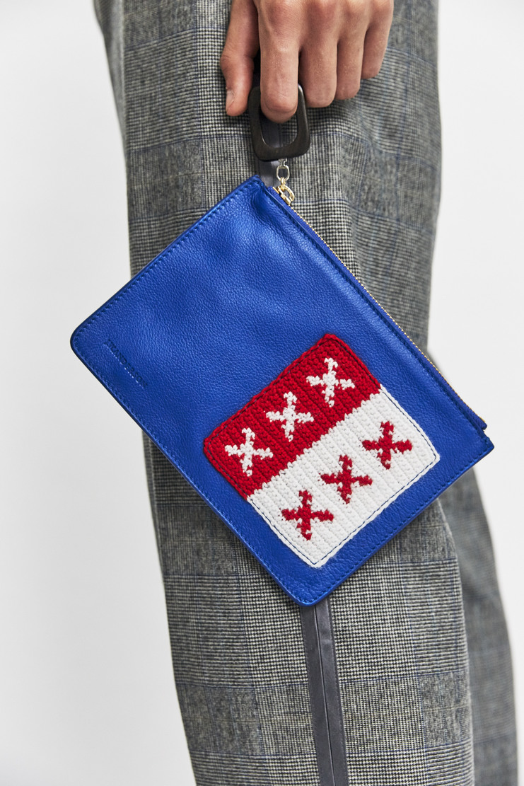 J.W. Anderson Blue Patch Pouch AW17 A/W17 JW Andersen Crochet Knitted Cross Crosses Bag