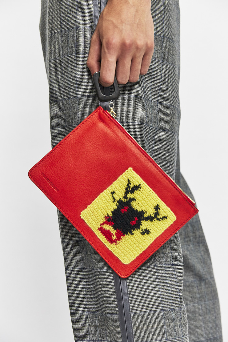 J.W. Anderson Red Patch Pouch AW17 A/W17 JW Andersen Crochet Knitted Bag