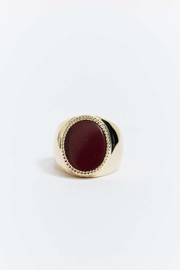 O Thongthai 'Mookaite' Signet Ring AW17 A/W17 Tongthai Thong Thai Tongtai Jewelery Gold Burgundy