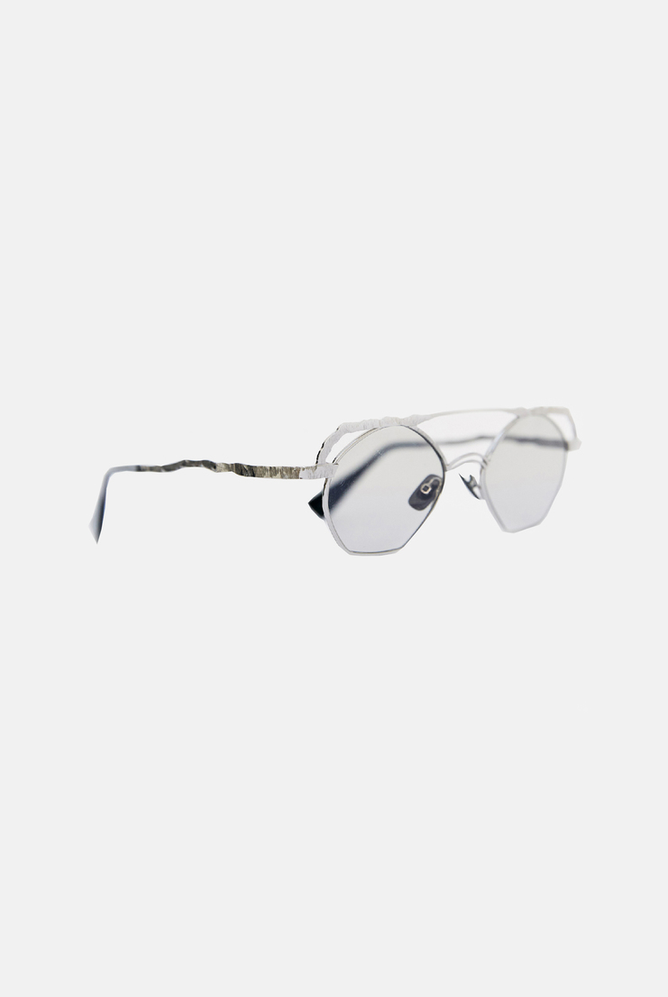 KUBORAUM 'H50' Top Wire Hexagon Glasses A/W17 AW17 KUBARAUM KUBARUM Spectacles Clear Lenses Silver