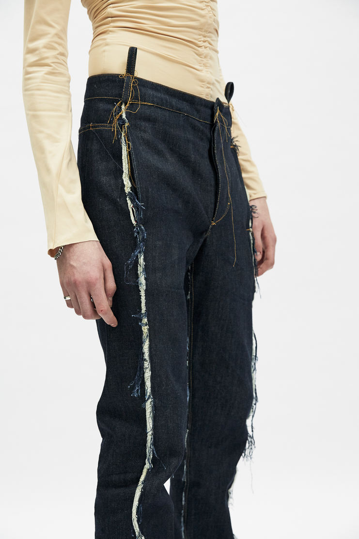 Per Gotesson Broken Denim Jeans straight leg indigo blue exposed frayed seams pockets baggy fit a/w 17 aw17 goteson trousers pants