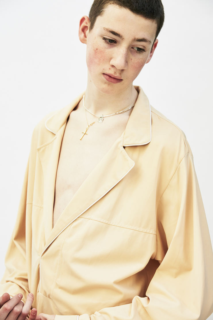 Per Gotesson 'Per2' shirt nude long sleeve lapel collar chest pocket piping a/w 17 aw17 perr goteson