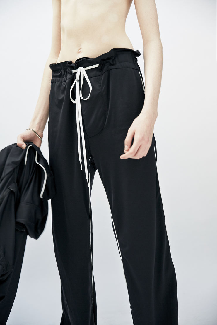 Per Gotesson Janosch Trousers black white piping split hem a/w 17 aw17 paperbag waist drawstring per goteson
