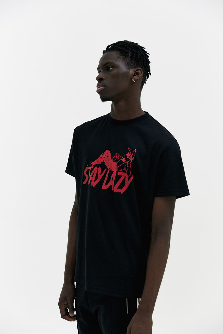 Alyx Black Stay Lazy T-Shirt Tee Top Shirt Graphic red print motif New Arrivals AW17 a/w 17 alix