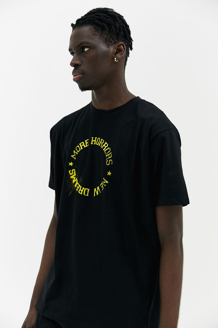 Raf Simons New Dreams T-Shirt short sleeve black yellow circular printed text star a/w 17 aw17 simmons