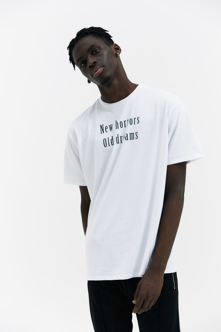 Raf Simons White New Horrors T-Shirt short sleeves rounded neckline classic fit white green printed a/w 17 aw17 italy raff simmons