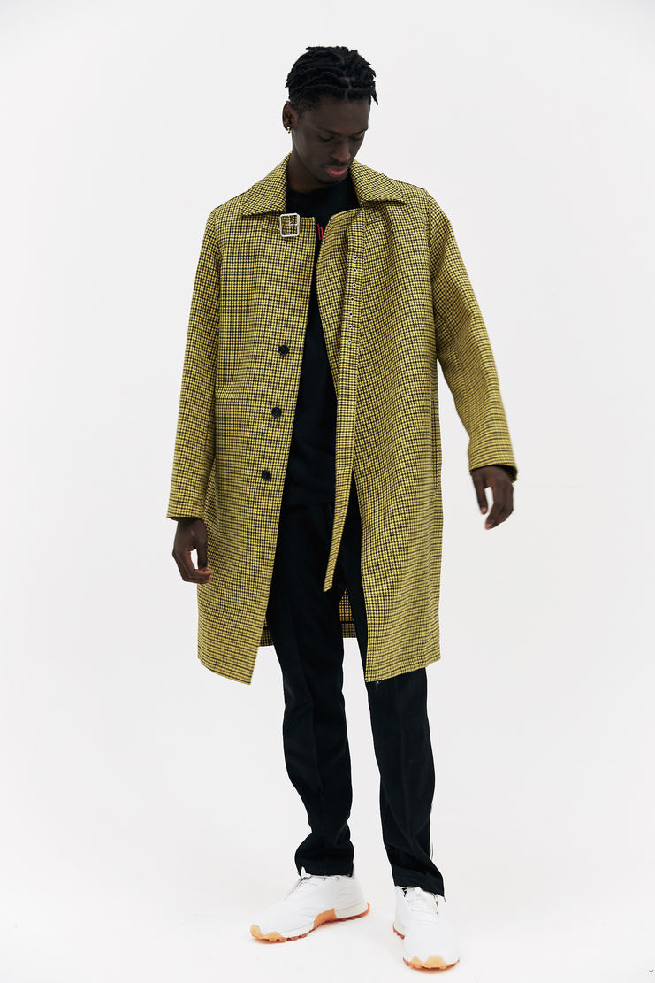 Raf Simons Yellow Buckle Coat herringbone wool printed buckled collar adjustable oversized silhouette a/w 17 aw17 simmons simon