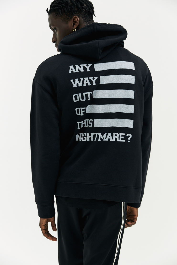 Raf Simons Any Way Out Hoodie hooded long sleeve drawstring jumper sweater sweatshirt a/w 17 aw17 black white motif raf simmons simon italy antwerp