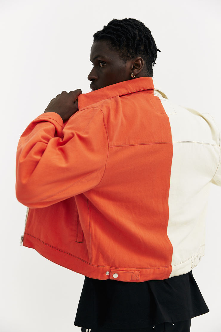 Alex Mullins Cream Denim Racer short jacket coat a/w 17 aw17 alex mulins contrast duo-tones two colours