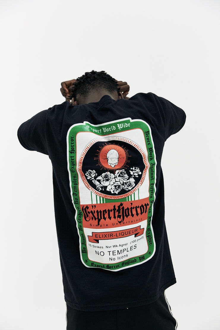 EXPERT HORROR Alcohol T-Shirt AW17 A/W17 Alcohol Graphic Jägermeister Bottle Black EH