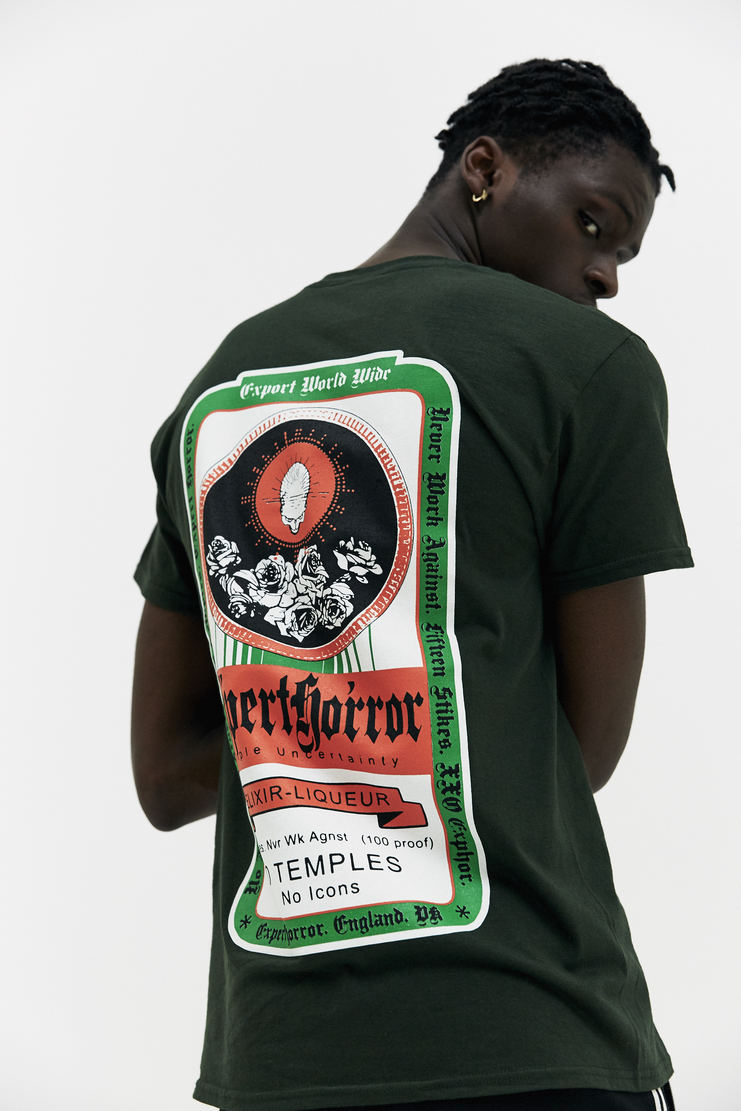 EXPERT HORROR Alcohol T-Shirt AW17 A/W17 Alcohol Graphic  Jägermeister Bottle Green