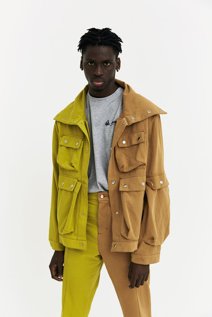 Alex Mullins Denim Funnel Jacket Autumn Winter 17 AW17 AM Coat England green beige 2 Tone Multi Pocket two