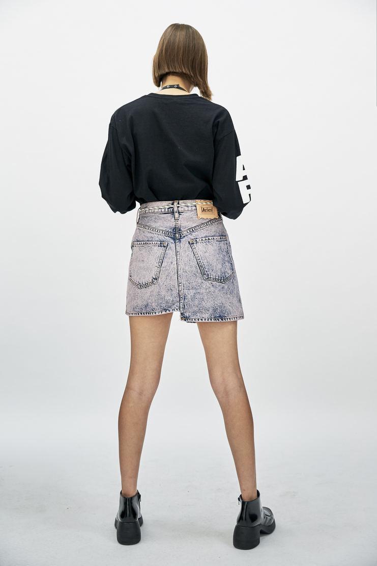 ARIES Holmey Denim Skirt short bleached pink asymmetric front zip a/w 17 aw17 arise