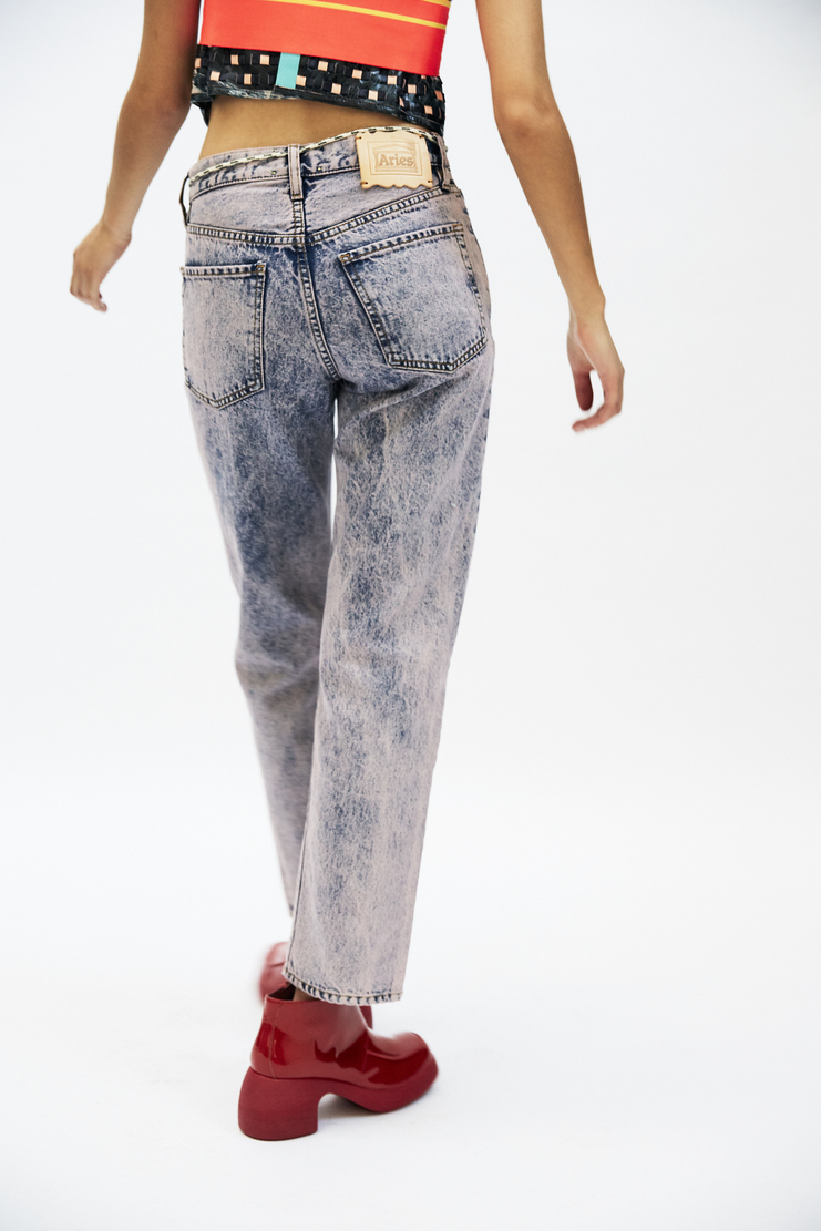 ARIES Strip Jeans pink bleached straight leg cropped belt tie waist denim a/w 17 aw17 arise