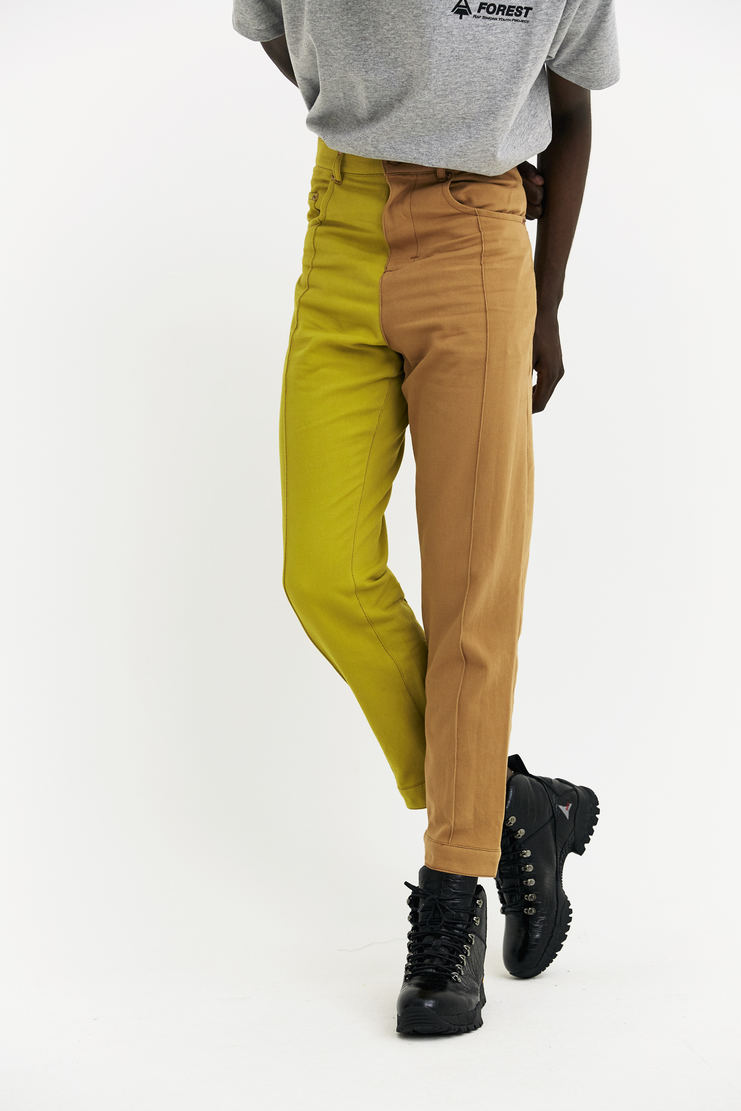 Alex Mullins Narrow Leg Denim Trousers AW17 A/W17 Mulins AM Beige Pop contrast duo-tones two colours